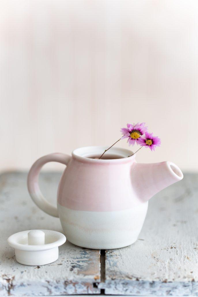 Hand thrown porcelain teapot by Katie Robbins.