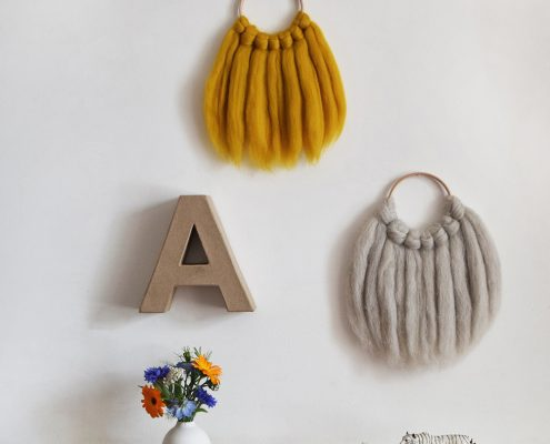 Product photography of woven hangings for Lewes Map Store by Dorte Januszewski