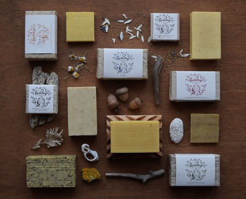 Flatlay of soap bars for Lewes Map Store by Dorte Januszewski